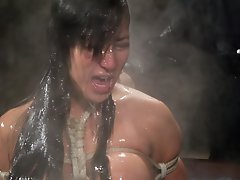 Busty asian gets tied,...