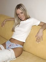 Sandra in white nylons bound at home