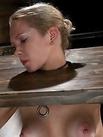 Hot blond takes extreme pain while...