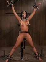 hot black girl bound in metal made to...